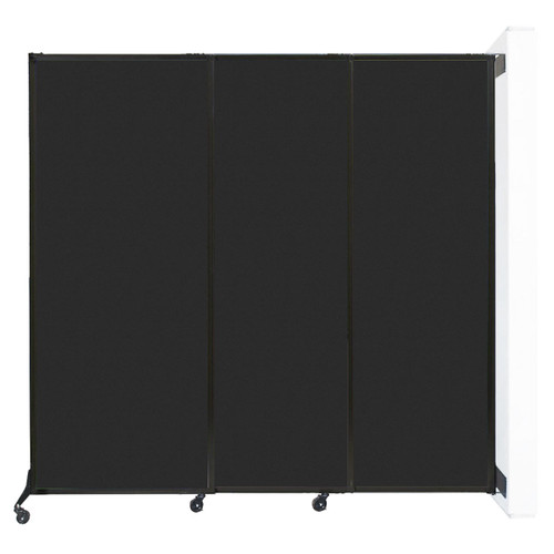 """Wall-Mounted QuickWall Sliding Partition 7' x 6'8"""" Black High Density Polyester"""