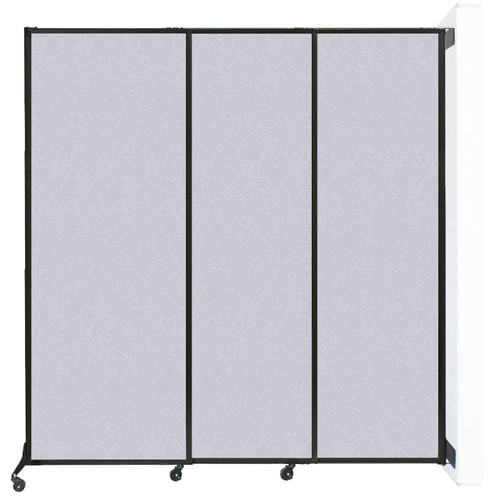 "Wall-Mounted QuickWall Sliding Partition 7' x 7'4"" Marble Gray High Density Polyester"