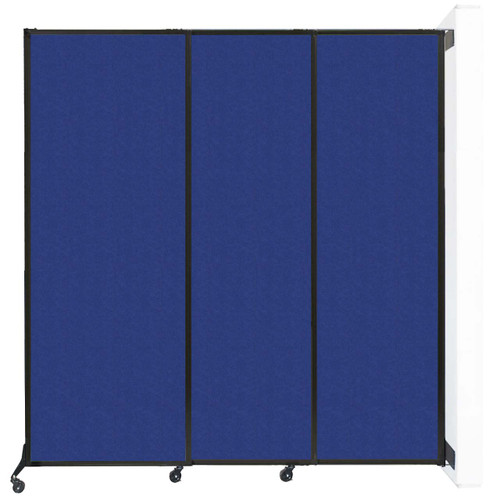 "Wall-Mounted QuickWall Sliding Partition 7' x 7'4"" Blue High Density Polyester"
