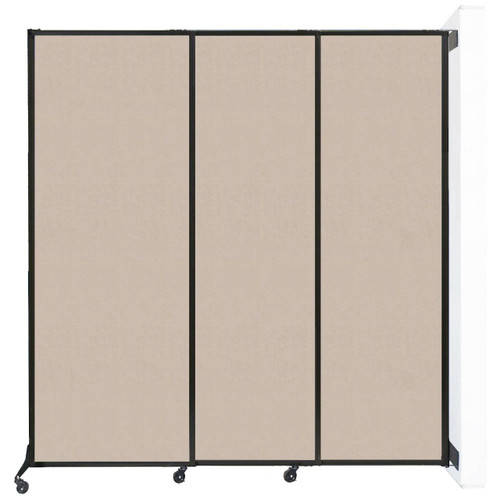 """Wall-Mounted QuickWall Sliding Partition 7' x 7'4"""" Beige High Density Polyester"""