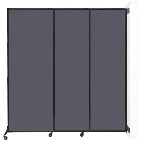 """Wall-Mounted QuickWall Sliding Partition 7' x 7'4"""" Dark Gray High Density Polyester"""