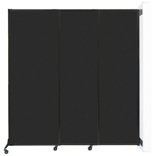 """Wall-Mounted QuickWall Sliding Partition 7' x 7'4"""" Black High Density Polyester"""