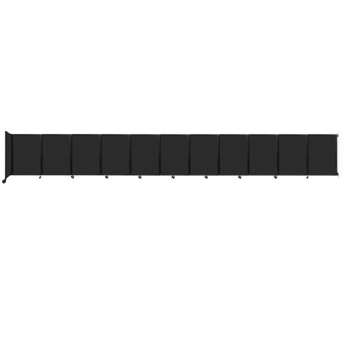 """Wall-Mounted Room Divider 360 Folding Partition 30'6"""" x 4' Black High Density Polyester"""