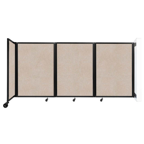 """Wall-Mounted Room Divider 360 Folding Partition 8'6"""" x 4' Beige High Density Polyester"""