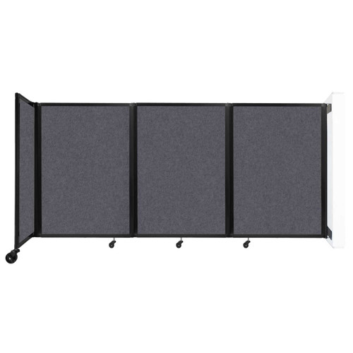 """Wall-Mounted Room Divider 360 Folding Partition 8'6"""" x 4' Dark Gray High Density Polyester"""