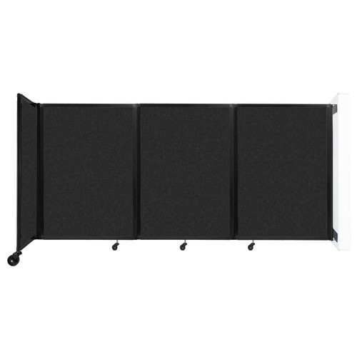 """Wall-Mounted Room Divider 360 Folding Partition 8'6"""" x 4' Black High Density Polyester"""