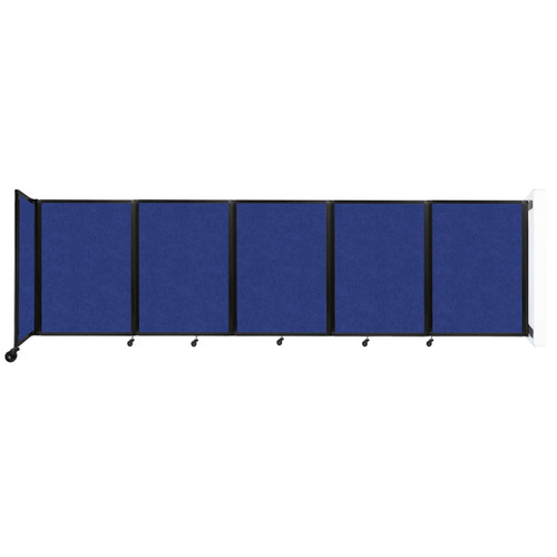 Wall-Mounted Room Divider 360 Folding Partition 14' x 4' Blue High Density Polyester