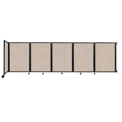 Wall-Mounted Room Divider 360 Folding Partition 14' x 4' Beige High Density Polyester