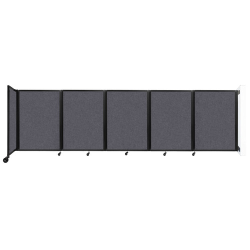 Wall-Mounted Room Divider 360 Folding Partition 14' x 4' Dark Gray High Density Polyester