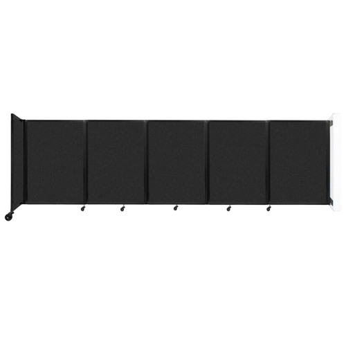 Wall-Mounted Room Divider 360 Folding Partition 14' x 4' Black High Density Polyester