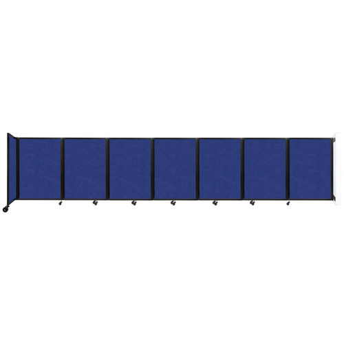 """Wall-Mounted Room Divider 360 Folding Partition 19'6"""" x 4' Blue High Density Polyester"""