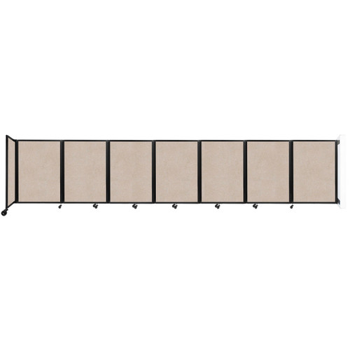 """Wall-Mounted Room Divider 360 Folding Partition 19'6"""" x 4' Beige High Density Polyester"""