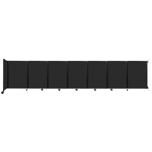 """Wall-Mounted Room Divider 360 Folding Partition 19'6"""" x 4' Black High Density Polyester"""