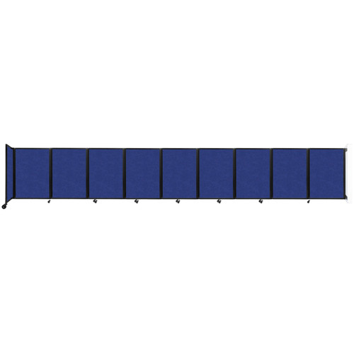 Wall-Mounted Room Divider 360 Folding Partition 25' x 4' Blue High Density Polyester