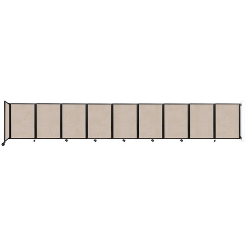 Wall-Mounted Room Divider 360 Folding Partition 25' x 4' Beige High Density Polyester