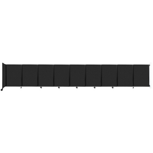 Wall-Mounted Room Divider 360 Folding Partition 25' x 4' Black High Density Polyester