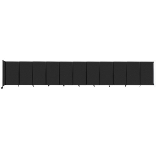 """Wall-Mounted Room Divider 360 Folding Partition 30'6"""" x 5' Black High Density Polyester"""