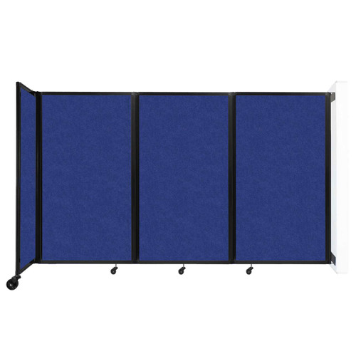 """Wall-Mounted Room Divider 360 Folding Partition 8'6"""" x 5' Blue High Density Polyester"""