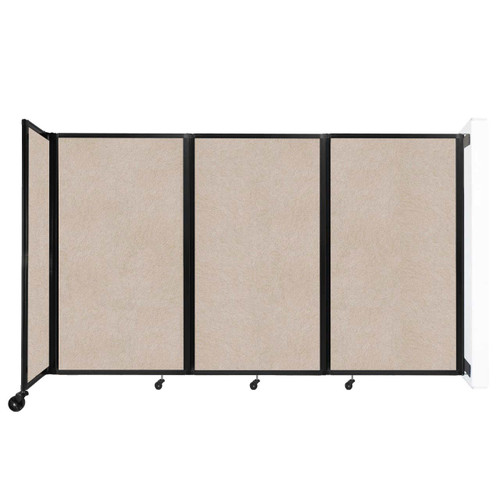 """Wall-Mounted Room Divider 360 Folding Partition 8'6"""" x 5' Beige High Density Polyester"""