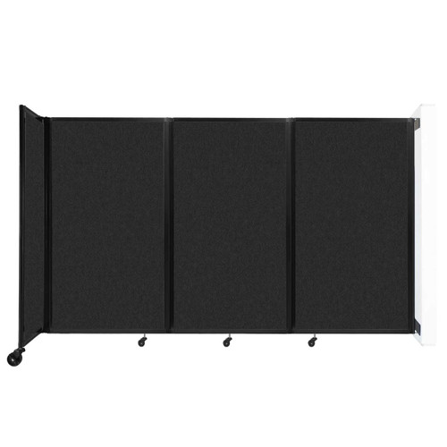 """Wall-Mounted Room Divider 360 Folding Partition 8'6"""" x 5' Black High Density Polyester"""