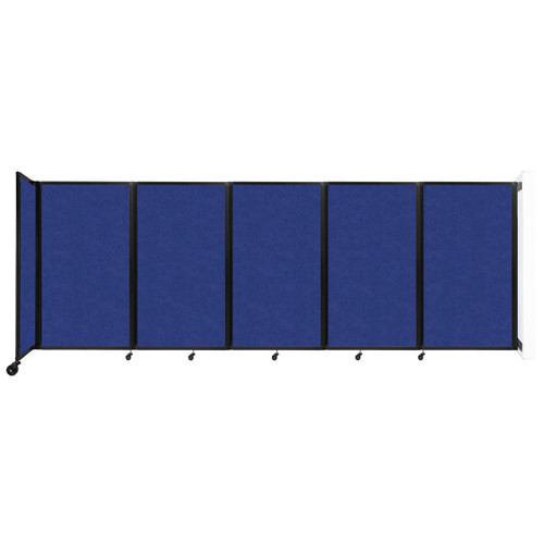 Wall-Mounted Room Divider 360 Folding Partition 14' x 5' Blue High Density Polyester