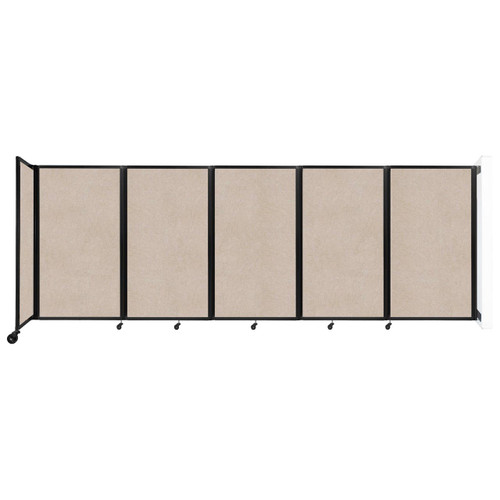 Wall-Mounted Room Divider 360 Folding Partition 14' x 5' Beige High Density Polyester