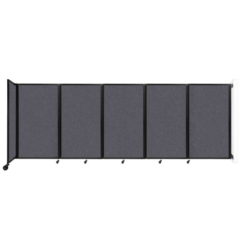 Wall-Mounted Room Divider 360 Folding Partition 14' x 5' Dark Gray High Density Polyester