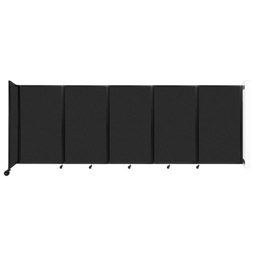 Wall-Mounted Room Divider 360 Folding Partition 14' x 5' Black High Density Polyester