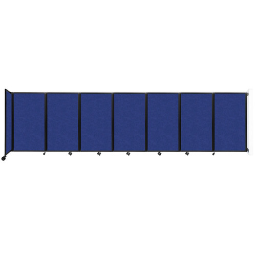 """Wall-Mounted Room Divider 360 Folding Partition 19'6"""" x 5' Blue High Density Polyester"""