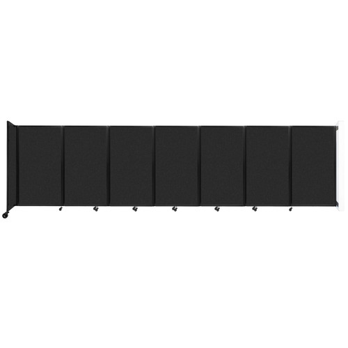 """Wall-Mounted Room Divider 360 Folding Partition 19'6"""" x 5' Black High Density Polyester"""