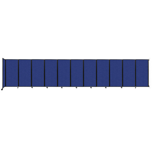 """Wall-Mounted Room Divider 360 Folding Partition 30'6"""" x 6' Blue High Density Polyester"""