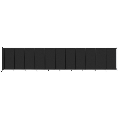 """Wall-Mounted Room Divider 360 Folding Partition 30'6"""" x 6' Black High Density Polyester"""