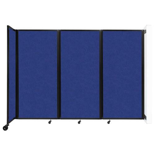 """Wall-Mounted Room Divider 360 Folding Partition 8'6"""" x 6' Blue High Density Polyester"""