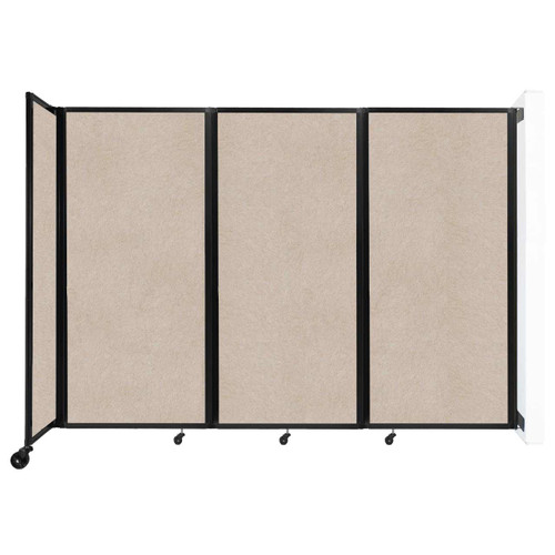 """Wall-Mounted Room Divider 360 Folding Partition 8'6"""" x 6' Beige High Density Polyester"""