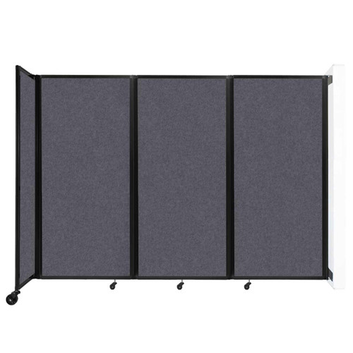"""Wall-Mounted Room Divider 360 Folding Partition 8'6"""" x 6' Dark Gray High Density Polyester"""