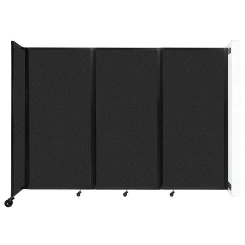 """Wall-Mounted Room Divider 360 Folding Partition 8'6"""" x 6' Black High Density Polyester"""