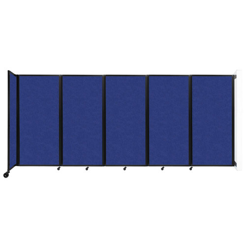 Wall-Mounted Room Divider 360 Folding Partition 14' x 6' Blue High Density Polyester