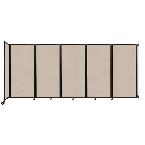 Wall-Mounted Room Divider 360 Folding Partition 14' x 6' Beige High Density Polyester