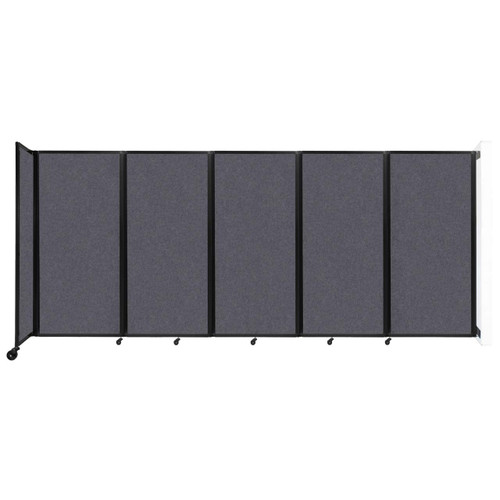Wall-Mounted Room Divider 360 Folding Partition 14' x 6' Dark Gray High Density Polyester