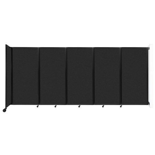 Wall-Mounted Room Divider 360 Folding Partition 14' x 6' Black High Density Polyester