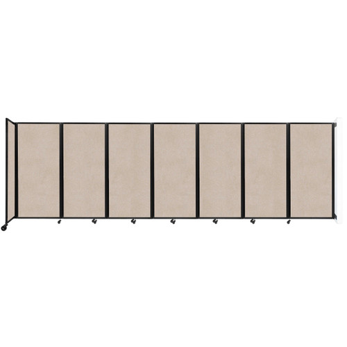 """Wall-Mounted Room Divider 360 Folding Partition 19'6"""" x 6' Beige High Density Polyester"""