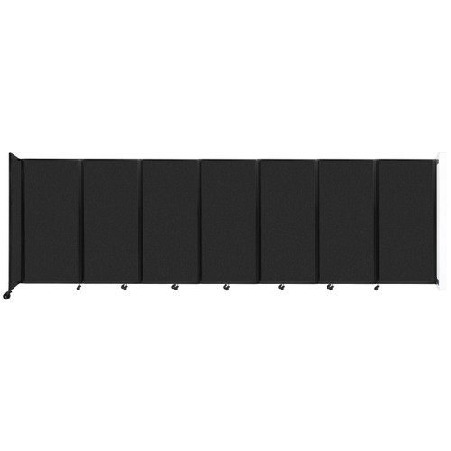 """Wall-Mounted Room Divider 360 Folding Partition 19'6"""" x 6' Black High Density Polyester"""