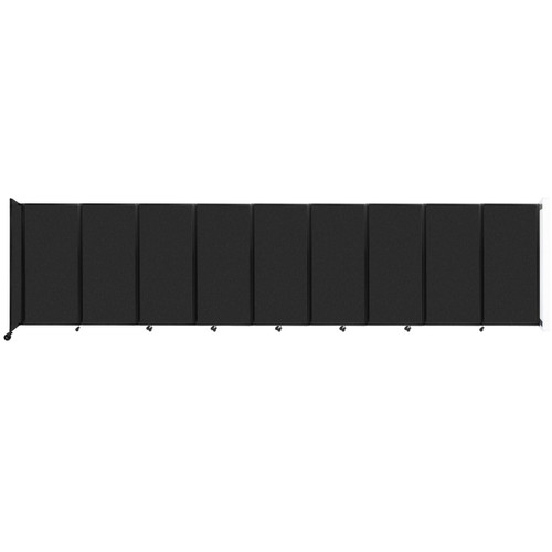 Wall-Mounted Room Divider 360 Folding Partition 25' x 6' Black High Density Polyester