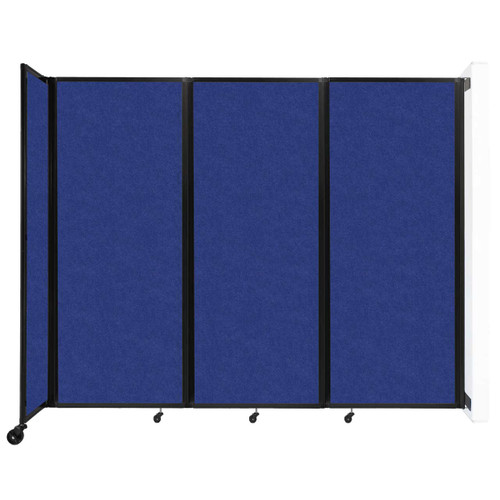 """Wall-Mounted Room Divider 360 Folding Partition 8'6"""" x 6'10"""" Blue High Density Polyester"""