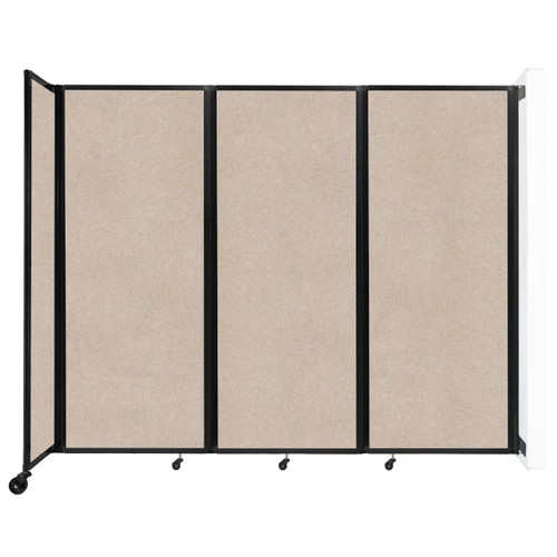 """Wall-Mounted Room Divider 360 Folding Partition 8'6"""" x 6'10"""" Beige High Density Polyester"""
