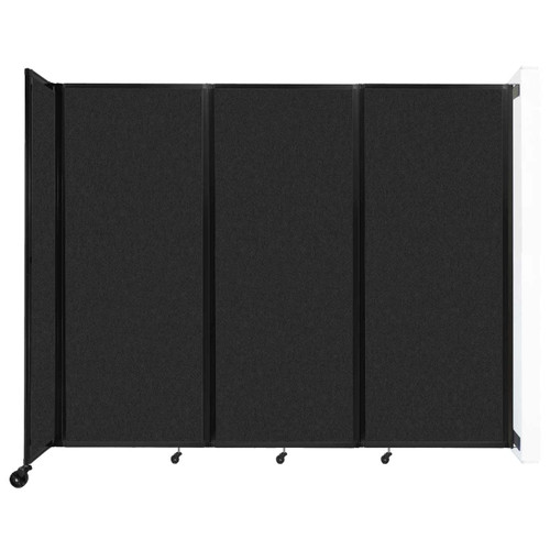 """Wall-Mounted Room Divider 360 Folding Partition 8'6"""" x 6'10"""" Black High Density Polyester"""