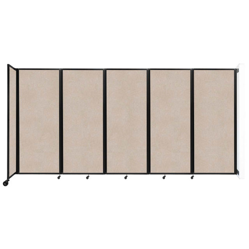 """Wall-Mounted Room Divider 360 Folding Partition 14' x 6'10"""" Beige High Density Polyester"""