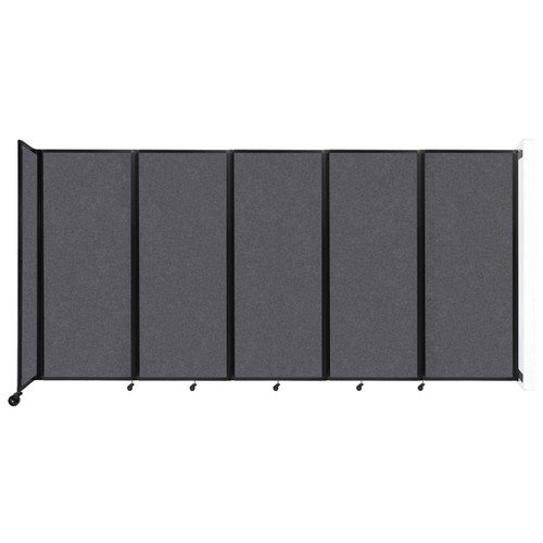 """Wall-Mounted Room Divider 360 Folding Partition 14' x 6'10"""" Dark Gray High Density Polyester"""