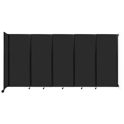 """Wall-Mounted Room Divider 360 Folding Partition 14' x 6'10"""" Black High Density Polyester"""