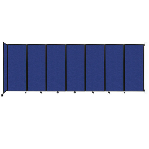 """Wall-Mounted Room Divider 360 Folding Partition 19'6"""" x 6'10"""" Blue High Density Polyester"""